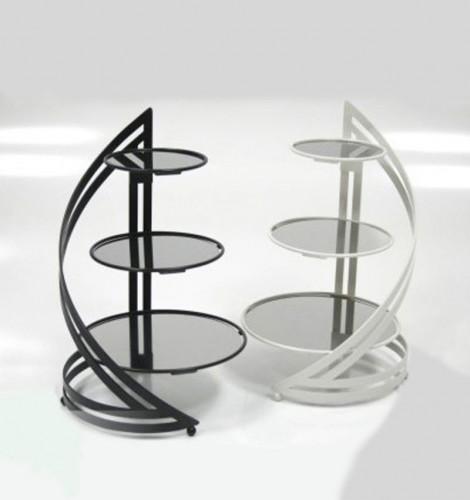 Stojak metalowy Spiral III czarny-bialy